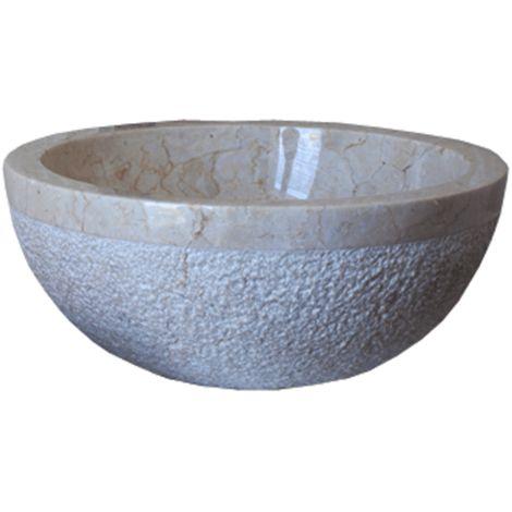 Lavabo de piedra Mármol Ø40cm BIMA redondo crema