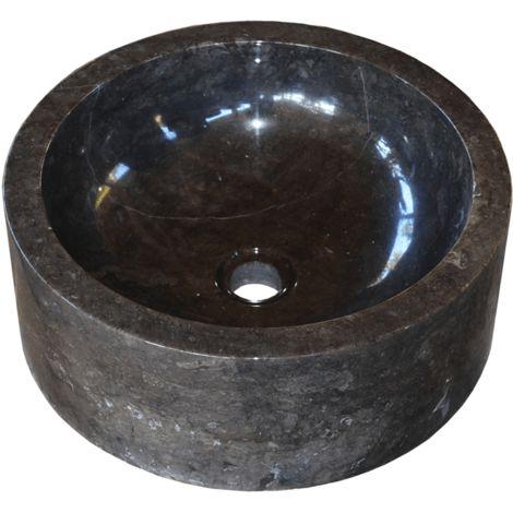 Lavabo de piedra Mármol Ø40cm JAIPUR redondo negro
