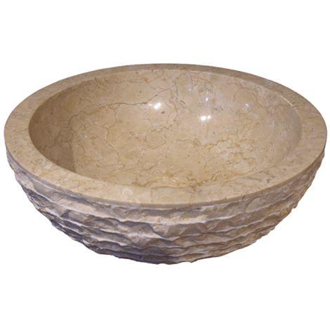 Lavabo de piedra Mármol Ø40cm TIKHI redondo crema