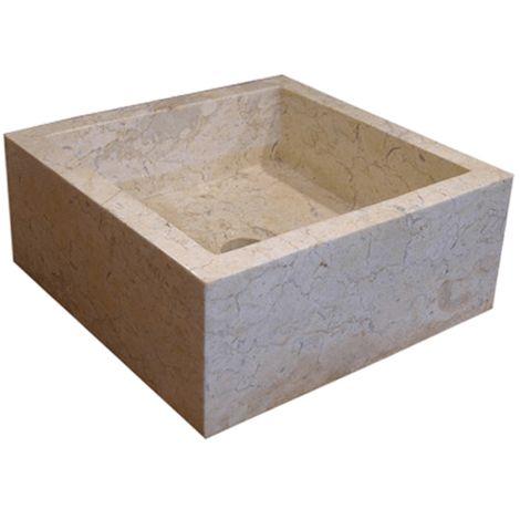 Lavabo de piedra Mármol KARMA cuadrado crema