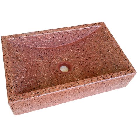Lavabo de Piedra Rectangular Rojo
