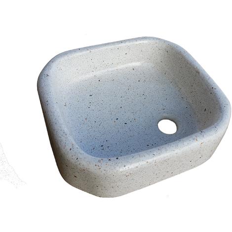 Lavabo de Piedra Redondo Blanco
