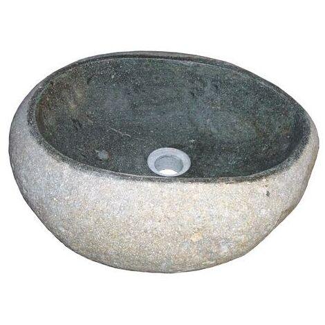 Lavabo de piedra RIVA tallado a partir de un guijarro natural Dimensiones : Ø30X16 cm - Aqua +