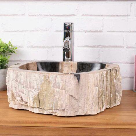 Lavabo de salle de bain en bois pétrifié fossilisé beige et noir 40 cm