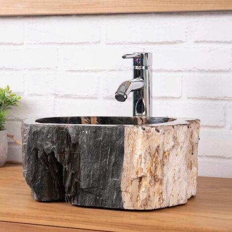 Lavabo de salle de bain en bois pétrifié fossilisé marron beige noir 40 CM