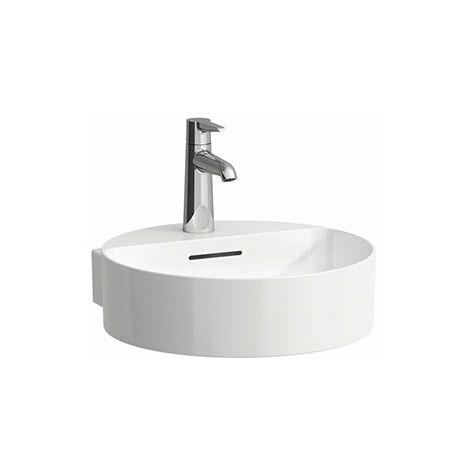 Lavabo de sobre encimera Laufen VAL, sin agujero para grifo, con rebosadero, 400x425, blanco, lijado en la parte inferior, montaje en la pared, color: Blanco - H8132810001091