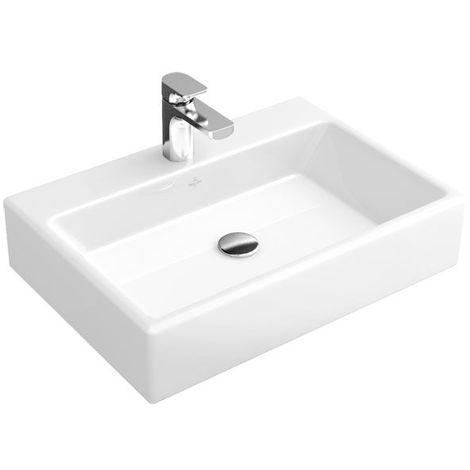 Lavabo de sobre encimera Villeroy und Boch Memento 513550 500x420mm, blanco, con rebosadero, para grifería de 3 agujeros, color: Cerámica negra brillante CeramicPlus - 513550S0