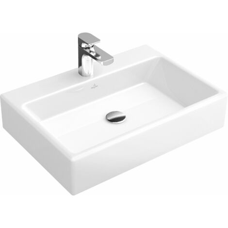 Lavabo de sobre encimera Villeroy und Boch Memento 513561 600x420mm, blanco, sin rebosadero, adecuado para grifería de 3 agujeros, color: Blanco - 51356101