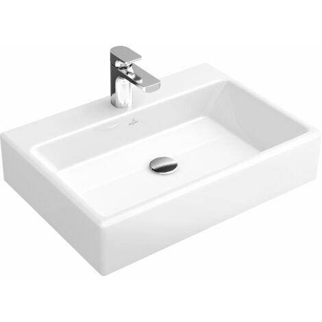 Lavabo de sobre encimera Villeroy und Boch Memento 513561 600x420mm, blanco, sin rebosadero, adecuado para grifería de 3 agujeros, color: Cerámica Blanca - 513561R1