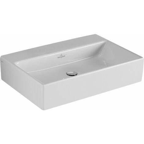 Lavabo de sobre encimera Villeroy und Boch Memento 513562 600x420mm, blanco, con rebosadero, sin grifo, color: Cerámica negra brillante CeramicPlus - 513562S0