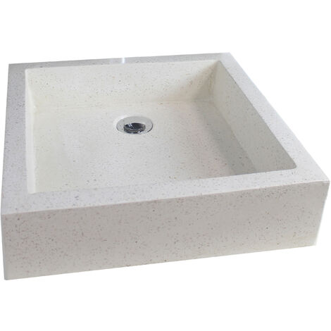 Lavabo de terrazo crema TIMBRE 40X40 Dimensiones : 40x40x10 cm - Aqua +