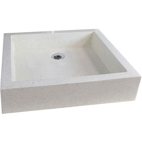 Lavabo de terrazo crema TIMBRE 40X60 Dimensiones : 40x60x10 cm - Aqua +