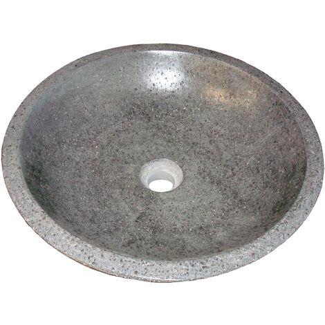 Lavabo de terrazzo gris claro PETRA Dimensiones : Ø40X13 cm - Aqua +