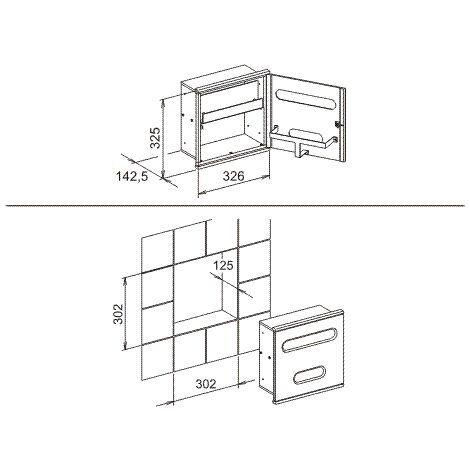 Lavabo del módulo integral del Plan Keuco 3 44977, cromado y blanco, con bisagra a la izquierda - 44977015101