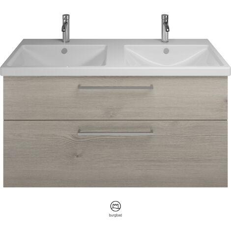 Lavabo doble de cerámica Burgbad Eqio con lavabo SEYS123, anchura 1230 mm, Color (frente/cuerpo): Franela de roble / franela de roble, mango de barra cromado P95 - SEYS123F2632P95