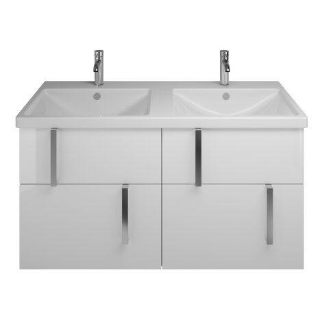 Lavabo doble de cerámica Burgbad Eqio con lavabo SEYT123, anchura 1230 mm, Color (frente/cuerpo): Blanco brillo intenso / Blanco brillo, mango cromado G0157 - SEYT123F2009G0157