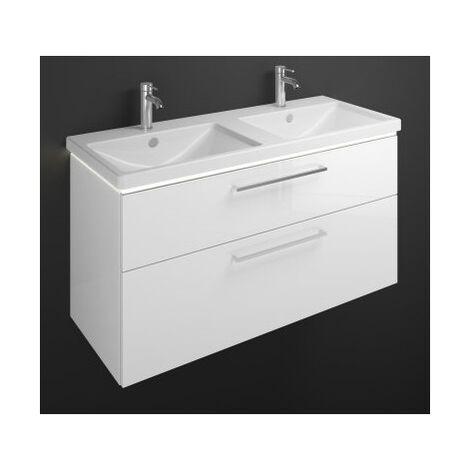 Lavabo doble de cerámica Burgbad Eqio con mueble bajo lavabo y lavabo con iluminación LED SEZC123, anchura 1230 mm, Color (frente/cuerpo): Blanco brillo intenso / Blanco brillo, mango de barra cromado P95 - SEZC123F2009P95