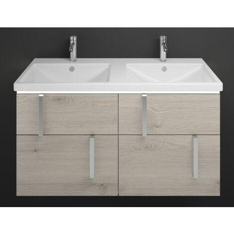Lavabo doble de cerámica Burgbad Eqio con mueble bajo lavabo y lavabo con iluminación LED SEZD123, anchura 1230 mm, Color (frente/cuerpo): Roble franela / roble franela, mango cromado G0157 - SEZD123F2632G0157