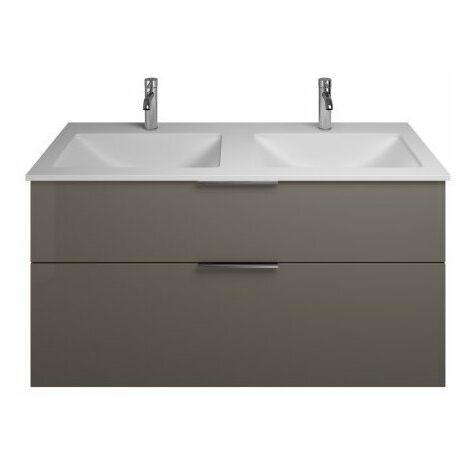 Lavabo doble de hormigón polímero Burgbad Eqio con mueble bajo lavabo SEYV122, anchura 1220 mm, Color (frente/cuerpo): Gris Alto Brillo / Gris Brillante, Mango G0146 - SEYV122F2010G0146