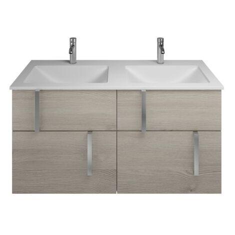 Lavabo doble de hormigón polímero Burgbad Eqio con mueble bajo lavabo SEYW122, anchura 1220 mm, Color (frente/cuerpo): Roble franela / roble franela, mango cromado G0157 - SEYW122F2632G0157