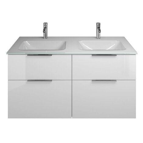 Lavabo doble de vidrio Eqio Burgbad con lavabo SEYYY122, anchura 1220 mm, Color (frente/cuerpo): Blanco Alto Brillo / Blanco Brillante, Mango G0146 - SEYY122F2009G0146
