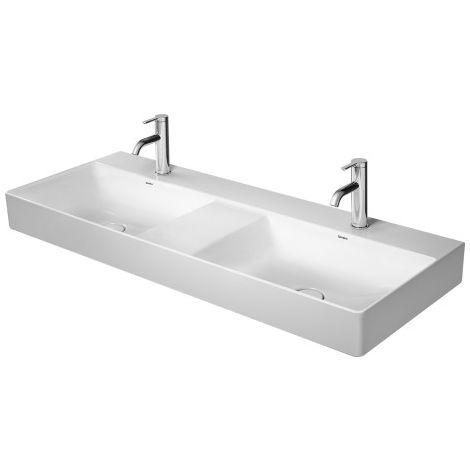 Lavabo doble Duravit DuraSquare, lavabo doble de muebles 120x47cm, 3 agujeros para grifo, sin rebosadero, con banco para grifo,, color: Blanco con Wondergliss - 23531200441