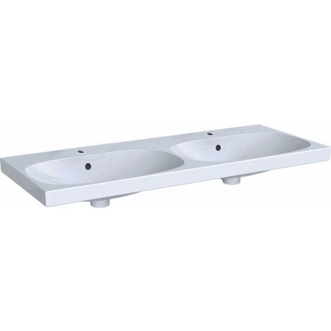 Lavabo doble Geberit Acanto 500627, 2 agujeros para grifos, con rebosadero, 1200x480mm, color: Blanco - 500.627.01.2