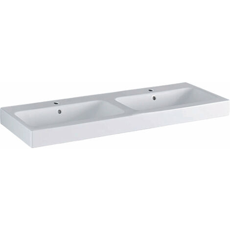 Lavabo doble Geberit iCon 120x48,5cm blanco, 124120, color: Blanco, con KeraTect - 124120600