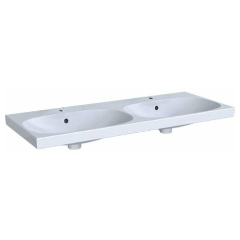 Lavabo doble Keramag Acanto 500627, 2 agujeros para grifos, con rebosadero, 1200x480mm, color: Blanco - 500.627.01.2