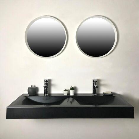 Lavabo doble para colocar o colgar Negro 120 cm en piedra sintética - Eva