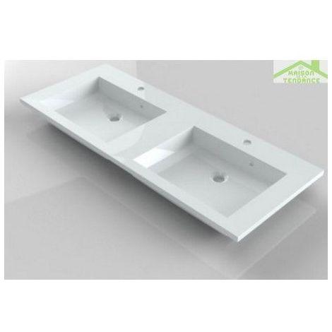 Lavabo double à 2 trous en marbre de synthèse RIHO BRONI 120x48 cm