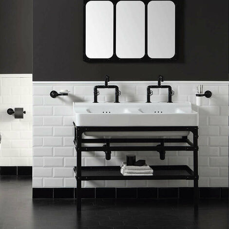 Lavabo double à bords larges style industriel en céramique 110 cm - Industrialis