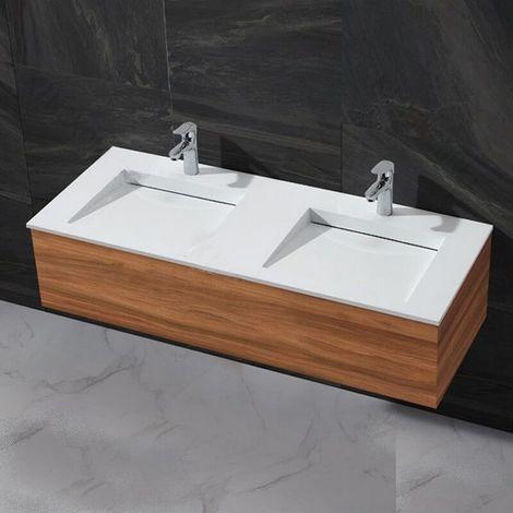 Lavabo double vasque à Encastrer - Solid surface Blanc mat - 120x50 cm - Duo