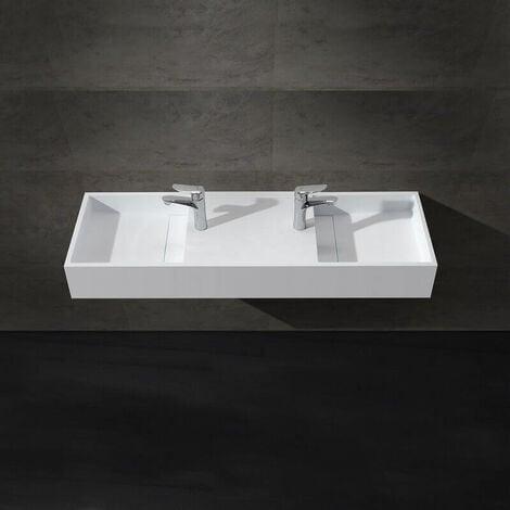Lavabo double vasque suspendu rectangulaire - Solid surface Blanc mat - 121x40 cm - Twins