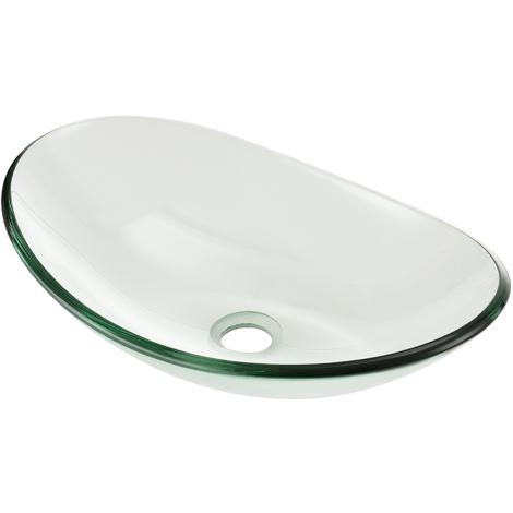 Lavabo du verre trempé [47x31cm] ovale voile