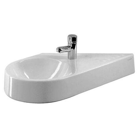 Lavabo Duravit Architec 64,5cm sin rebosadero, con banco para grifos, 1 agujero para grifos, lavabo a la izquierda, color: Blanco con Wondergliss - 07646500001
