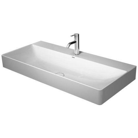 Lavabo Duravit DuraSquare 100x47cm, pulido, 2 agujeros para grifos, sin rebosadero, con banco para grifos, color: Blanco con Wondergliss - 23531000141