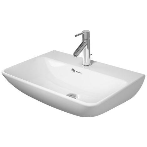 Lavabo Duravit ME by Starck Wash Compact 60x40cm, 3 agujeros para grifos, con rebosadero, con banco para grifos, color: Seda blanca mate con Wondergliss - 23436032301