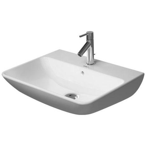 Lavabo Duravit ME de Starck Wash con rebosadero, con banco para grifos, 3 agujeros para grifos, 600 mm, color: Seda blanca mate con Wondergliss - 23356032301