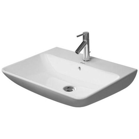 Lavabo Duravit ME de Starck Wash con rebosadero, con banco para grifos, 3 agujeros para grifos, 650 mm, color: Seda blanca mate - 2335653230