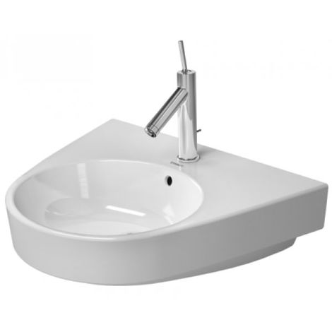 Lavabo Duravit Starck 2 60cm, 3 agujeros para grifos, color: Blanco con Wondergliss - 23236000301