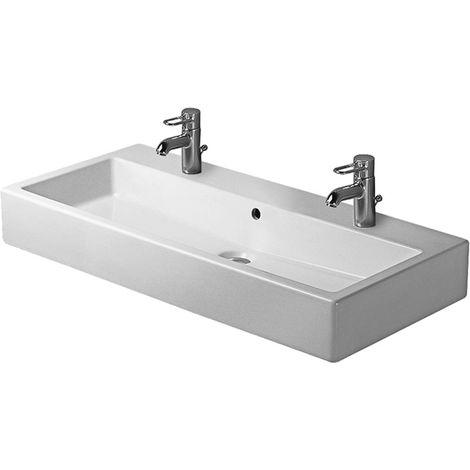Lavabo Duravit Vero 1000mm, con rebosadero, con banco para grifos, 2 agujeros para grifos, color: Blanco - 0454100024