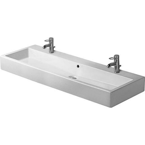 Lavabo Duravit Vero 1200mm con rebosadero, con banco para grifos, 2 agujeros para grifos, color: Blanco - 0454120024