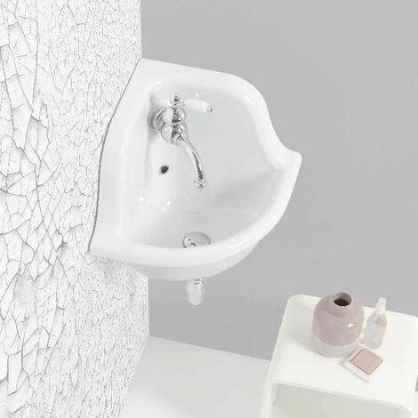 Lavabo école d'angle en céramique émaillée 42 cm True Colors - Blanc