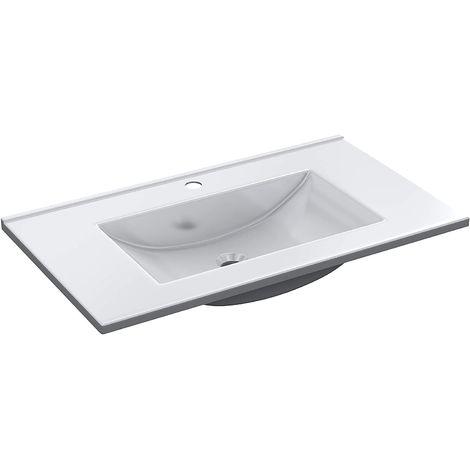 Lavabo empotrado 80x46 cm de PMMA | Blanco brillo