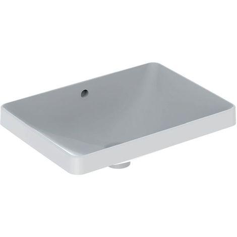 Lavabo empotrado Geberit VariForm rectangular, 550x400mm, sin agujero para grifo, con rebosadero, color: Blanco - 500.737.01.2