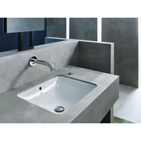 Lavabo empotrado Geberit VariForm rectangular, 550x400mm, sin agujero para grifo, con rebosadero, color: Blanco, con KeraTect - 500.737.00.2