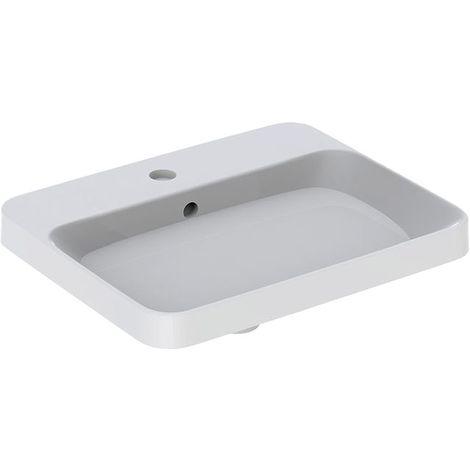 Lavabo empotrado Geberit VariForm rectangular, 550x450mm, con agujero para grifo, con rebosadero, color: Blanco - 500.741.01.2