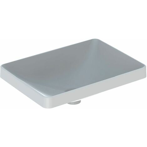 Lavabo empotrado Keramag VariForm rectangular, 550x400mm, sin agujero para grifo, sin rebosadero, color: Blanco - 500.739.01.2