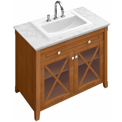 Lavabo empotrado Villeroy und Boch Hommage 7102A1 630x525mm, blanco, con rebosadero, apto para grifería de 3 agujeros, color: Cerámica Blanca - 7102A1R1